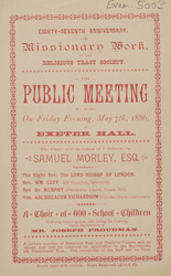 Advert for a meeting at the Royal Exeter Hall